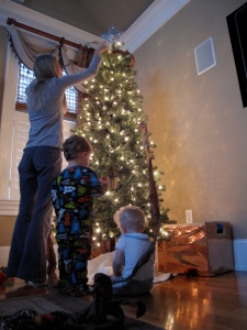 Decorating the tree with my boys