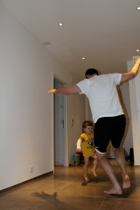 Daddy and Henry doing their exercises