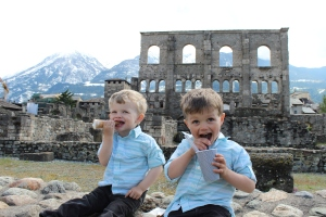 These boys - enjoying gelato by the Roman theater